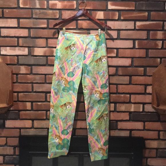 "Leggiadro Pants - Leggiadro Tiger/Zebra Pattern ""Cigarette"" Pants"